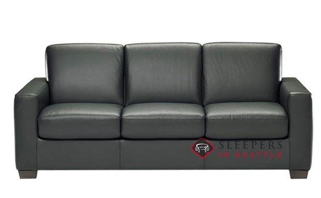 Natuzzi B534 Sleep Solutions Leather Sleeper in Belfast Black (Queen)