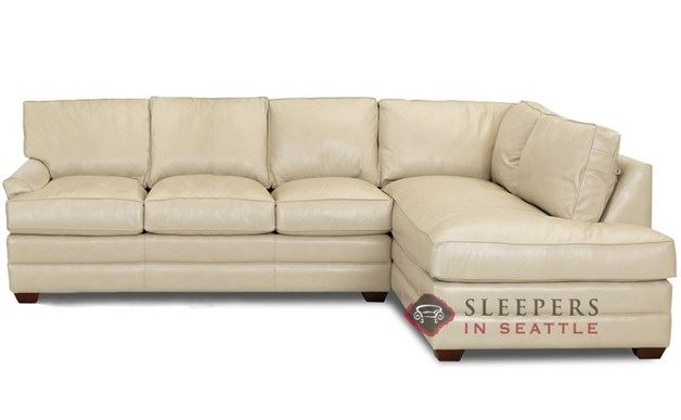 Savvy Gold Coast Leather Chaise Sectional Sleeper shown in Outsider Alabaster