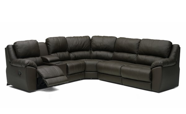 Benson Large Reclining True Sectional Leather Sleeper Sofa with Console