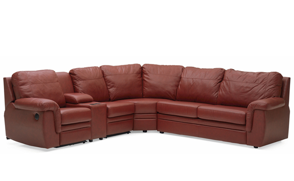 Brunswick Large Reclining True Sectional Leather Sleeper Sofa with Console