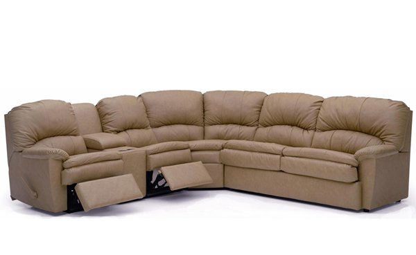 Aria Large Reclining True Sectional Leather Sleeper Sofa with Console