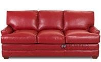Savvy Gold Coast Leather Queen Sleeper Sofa with Optional Down-Blend Cushions