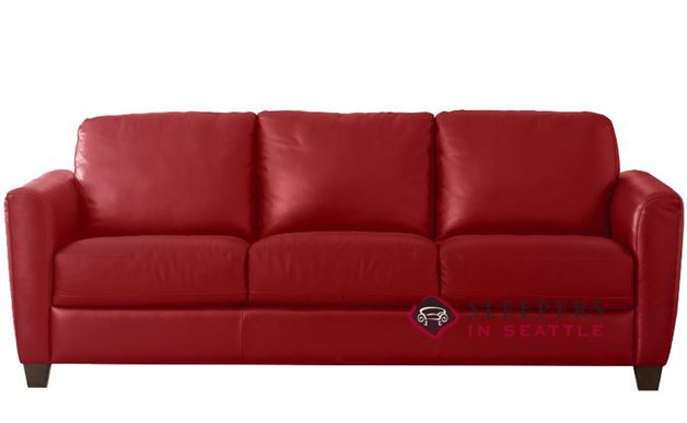 Natuzzi B592 Leather Sleeper in Belfast Red (Queen)