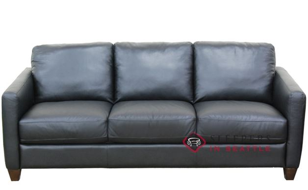 Natuzzi B591 Queen Leather Sleeper in Denver Black (Queen)