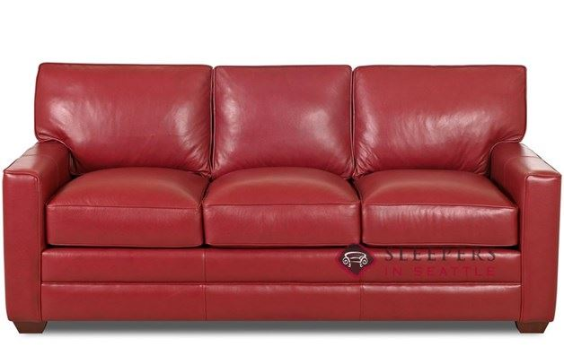 Savvy Palo Alto Leather Sleeper in Durango Strawberry (Queen)