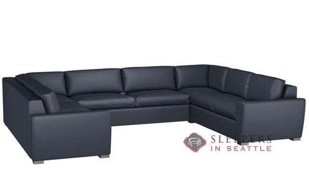 Lazar Geo Leather U-Sectional 2-Cushion Condo Sleeper (Queen)