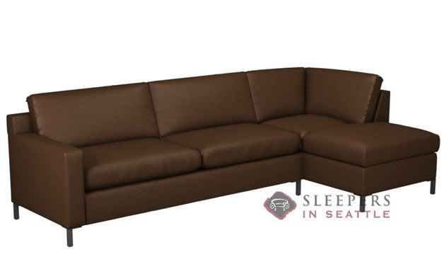 Lazar Soho II Leather Chaise Sectional with 2-Cushion Sleeper (Queen)