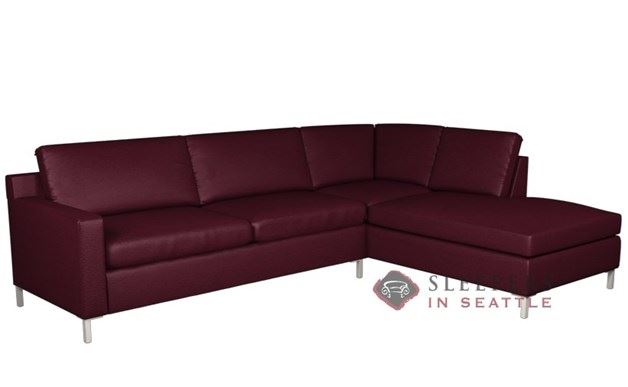 Soho II Leather Loveseat Chaise Sectional 2-Cushion Queen Sleeper