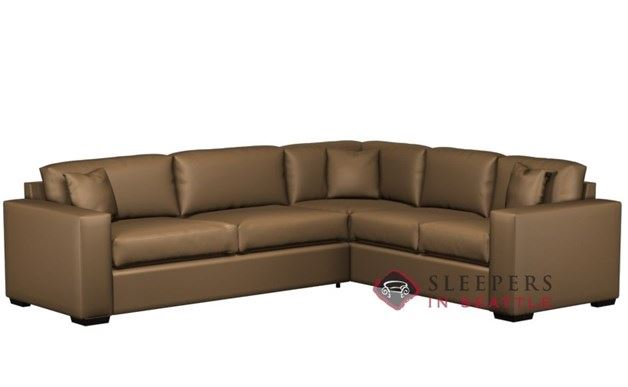 Lazar Sutton Place II Leather True Sectional with 2-Cushion Sleeper (Queen)