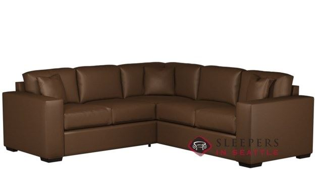 Sutton Place Leather True Sectional with 2-Cushion Twin Sleeper