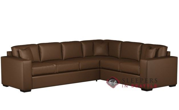 Sutton Place Leather True Sectional with 3-Cushion Queen Sleeper