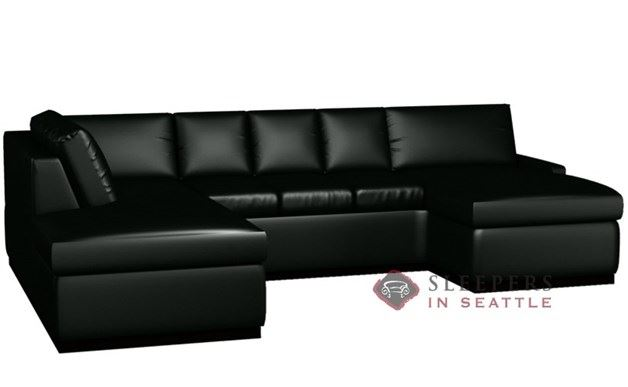 The Terra Leather U-Sectional with 3-Cushion Sleeper (Queen)