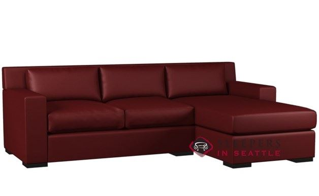 Lazar Corvo Leather Chaise Sectional with Sleeper (Twin)