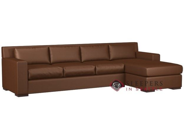 Corvo Leather Chaise Sectional with 3-Cushion Queen Sleeper