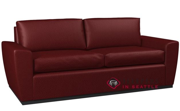 Lazar Geo 2-Cushion Leather Condo Sofa