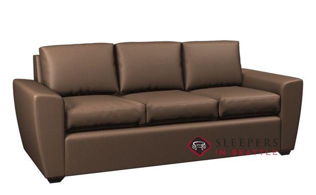 Lazar Geo 3-Cushion Leather Sofa