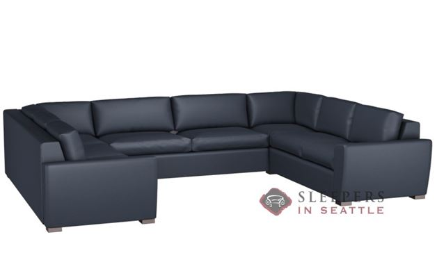 Lazar Geo U-Shape Leather True Sectional with 2-Cushion Condo Sofa