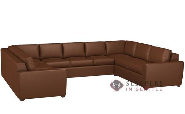 Lazar Geo U-Shape Leather True Sectional with 3-Cushion Sofa