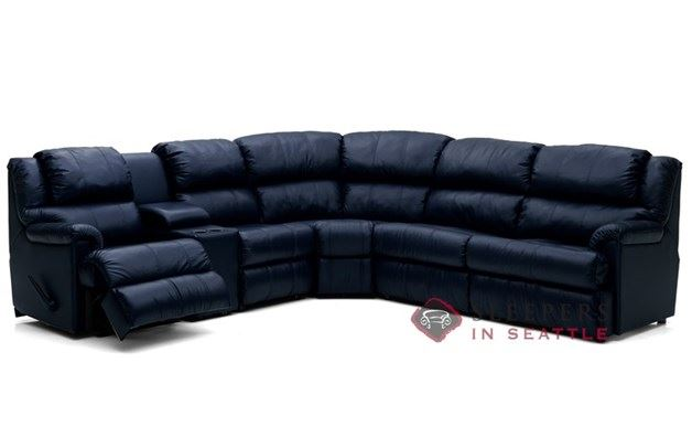 Palliser Harlow Large Reclining True Sectional Leather Sleeper with Console