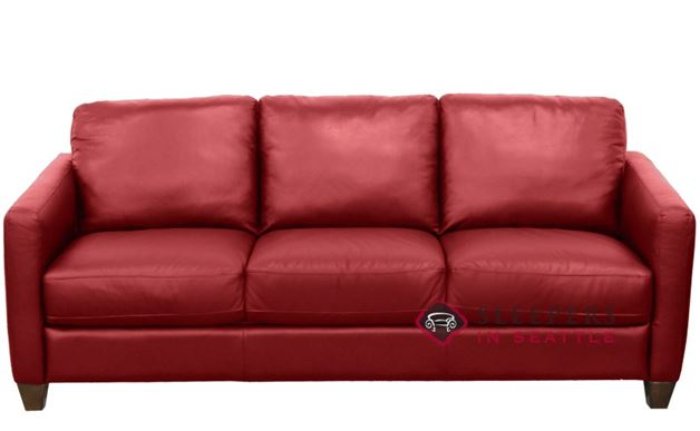 Natuzzi B591 Leather Sleeper in Belfast Red (Queen)