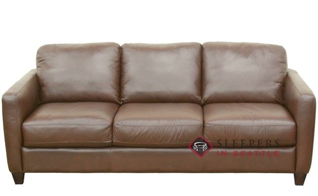 Natuzzi B591 Leather Sleeper in Matera Chestnut (Queen)