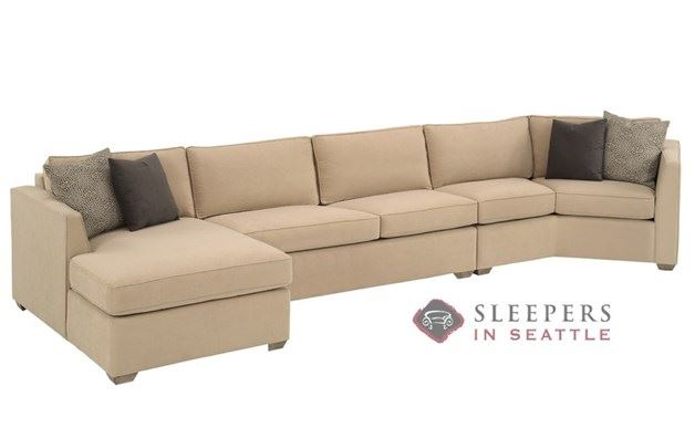 Lazar Strata Long Angled Chaise Sectional with 2-Cushion Condo Sleeper (Queen)