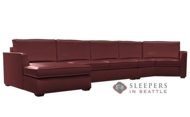 Lazar Strata Leather Long Angled Chaise Sectional with 2-Cushion Condo Sleeper (Queen)
