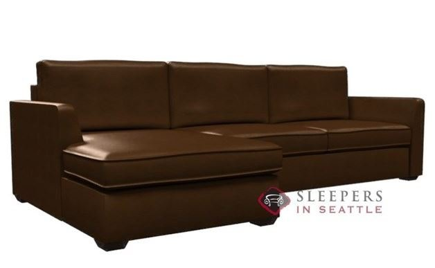 Lazar Strata Leather Chaise Sectional with 2-Cushion Condo Sleeper (Queen)
