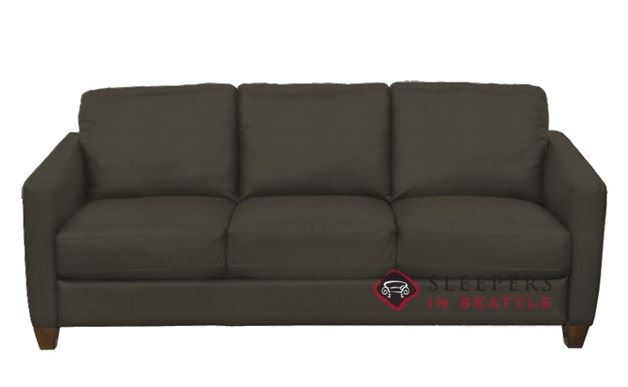 Natuzzi B591 Leather Sleeper in Denver Dark Taupe (Queen)