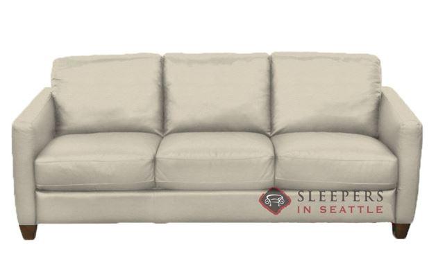 Natuzzi B591 Leather Sleeper in Denver Rose Beige (Queen)