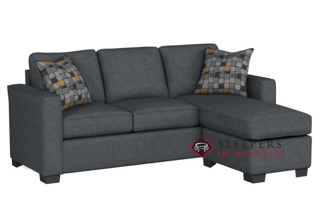 Stanton 702 Chaise Sectional Sleeper Sofa in Bennett Charcoal (Queen)