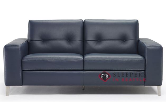 B883-264: Natuzzi Editions Po Leather Sleeper Sofa in Le Mans Navy (Full)