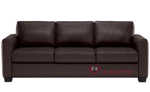 B735-008: Natuzzi Editions Roya Leather Sleeper Sofa in Denver Dark Brown (Queen)