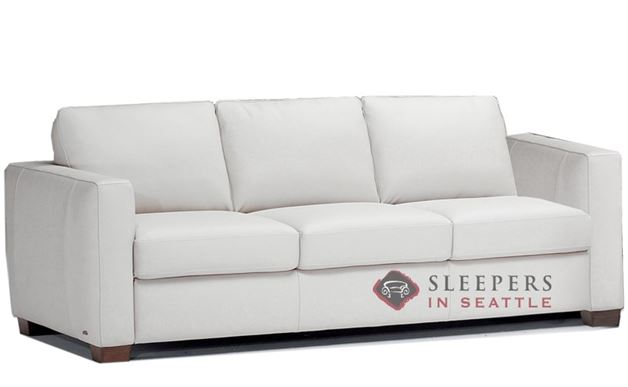 B735-008: Natuzzi Editions Roya Leather Sleeper Sofa in Denver Antique White (Queen)
