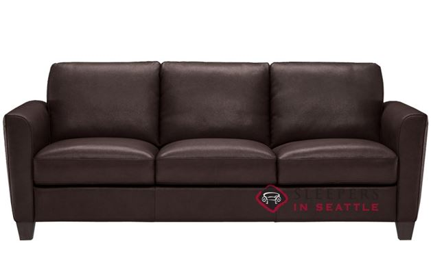 Natuzzi B592 Leather Sleeper in Matera Dark Brown (Queen)
