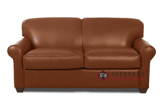 Savvy Calgary Leather Sleeper Sofa in Steamboat Chestnut (Full)