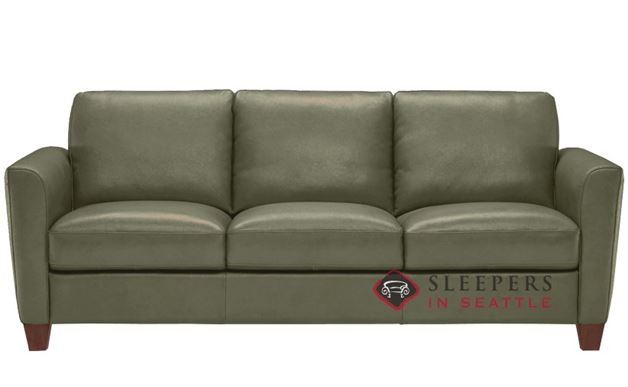 Natuzzi B592 Leather Sleeper in Oregon Military Green (Queen)