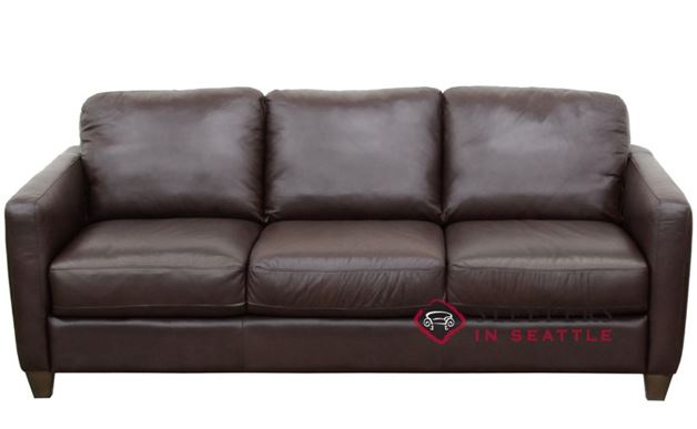 Natuzzi B591 Leather Sleeper in Phoenix Brown (Queen)