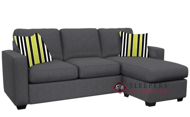 Stanton 702 Chaise Sectional Sleeper Sofa in Jitterbug Gray (Queen)