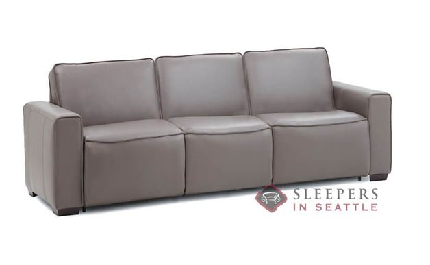 Palliser Lullaby My Comfort 3-Cushion Leather Sleeper Sofa (Queen) in Venice Coal