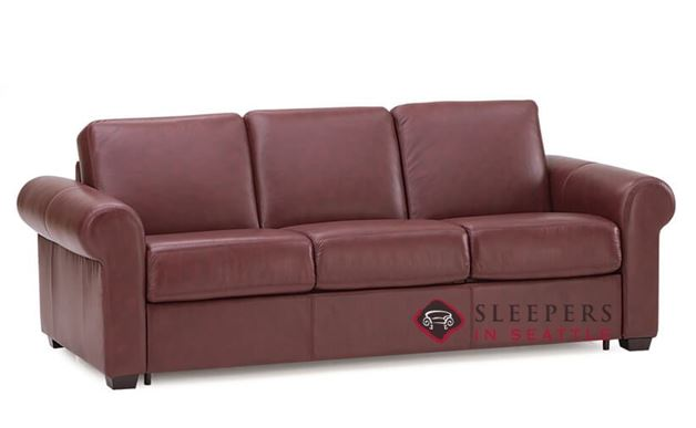 Palliser Sleepover My Comfort 3-Cushion Leather Sleeper Sofa (Queen) in Carnival Claret