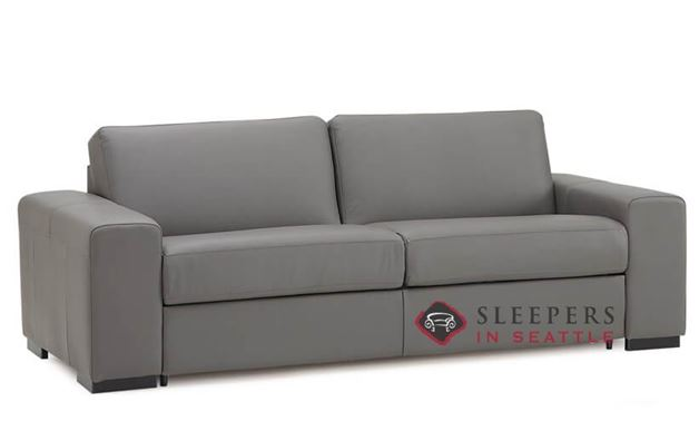 Palliser Weekender My Comfort 2-Cushion Leather Sleeper Sofa (Queen) in Broadway Granite