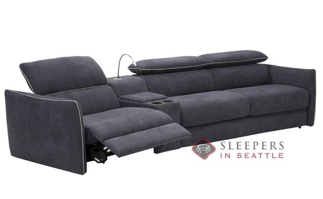 Natuzzi Editions Umbria B995 Leather Full Sleeper with Curved Recliner