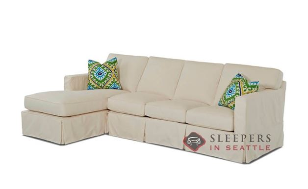 Savvy Jersey Large Chaise Sectional Sleeper Sofa with Slipcover