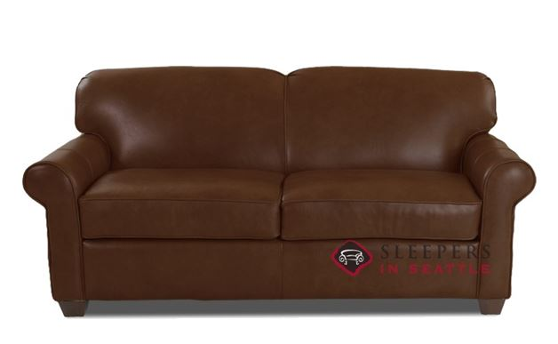 Savvy Calgary Leather Sleeper Sofa in Abilene Chestnut (Full)