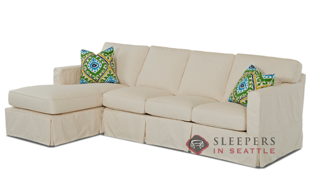 Savvy Jersey Large Chaise Sectional Sofa with Slipcover
