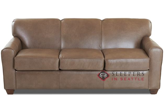 Savvy Zurich Leather Sleeper Sofa in Abilene Smoke (Queen)