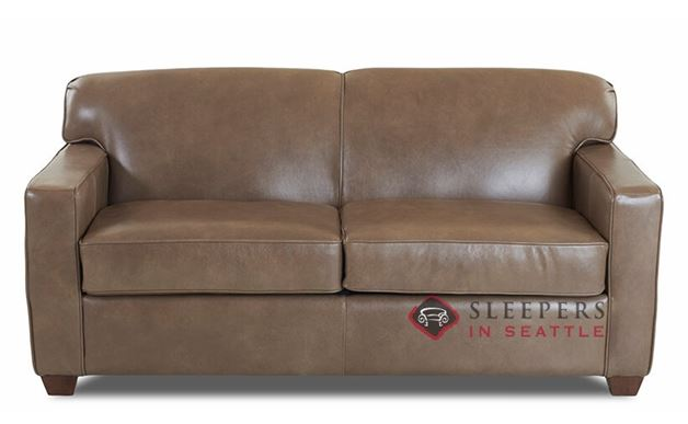 Savvy Geneva Leather Sleeper Sofa in Abilene Smoke (Full)