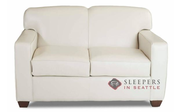 Savvy Geneva Leather Sleeper Sofa in Durango Oatmeal (Twin)