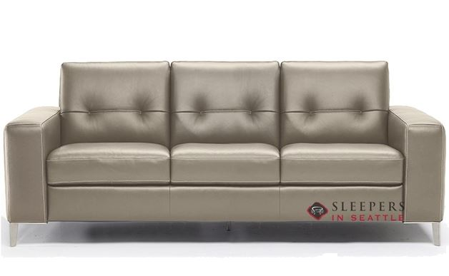 Natuzzi Po (B883-266) Leather Sleeper Sofa with Greenplus Foam Mattress in Le Mans Seashell (Queen)